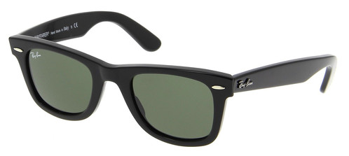 a60eefc9557b1 Ray-Ban Original Black Wayfarer Green G-15 Lens 50mm Sunglasses ...