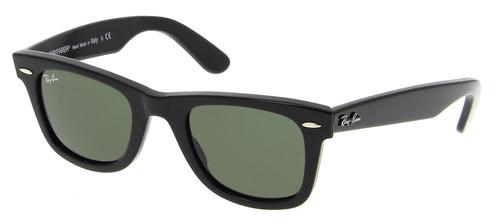 33fcc3dd0e Ray-Ban Original Black Wayfarer Green G-15 Lens 50mm Sunglasses RB2140 901  50