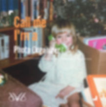 Amanda Henley as a small chid holding a toy phone to hr ear on Christmas morning. The photo says, Call me I'm a Phoo Organizer.