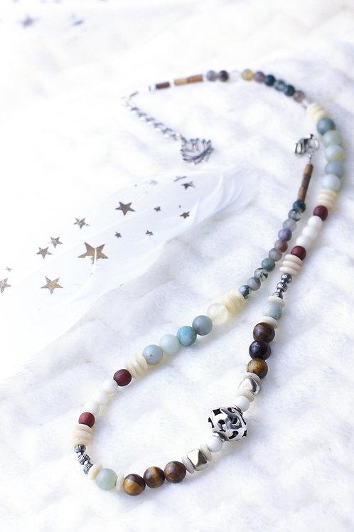 """Collier """"Nova"""" - Perles en oeil de tigre, bois, jaspe, argent..."""