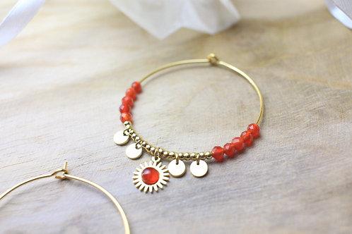 """Boucles d'oreilles """"Helios"""" - Perles en agate rouge"""
