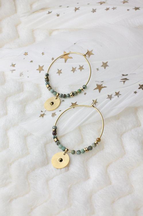 """Boucles d'oreilles """"Belinda"""" - Perles en turquoise"""