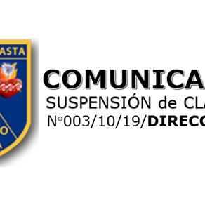 SUSPENSIÓN DE CLASES LUNES 21 DE OCTUBRE