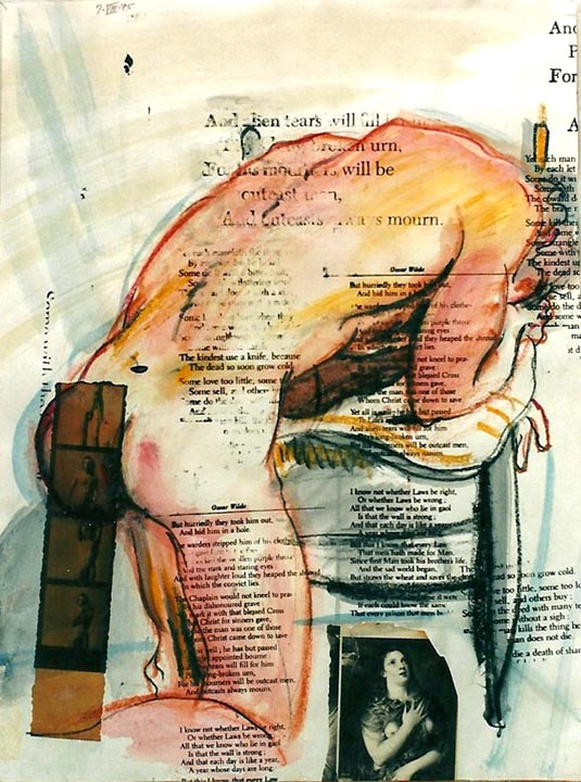 Nude Study w/ Collage and Text 1995