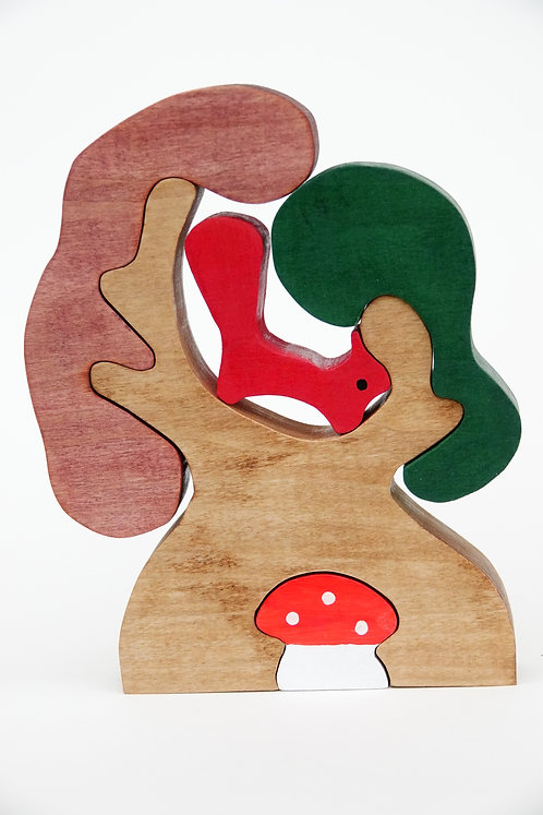 'Wooden Squirrel in a Tree'