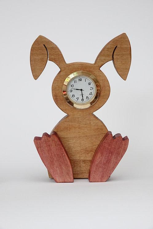 Iroko Wood'Rabbit' Clock