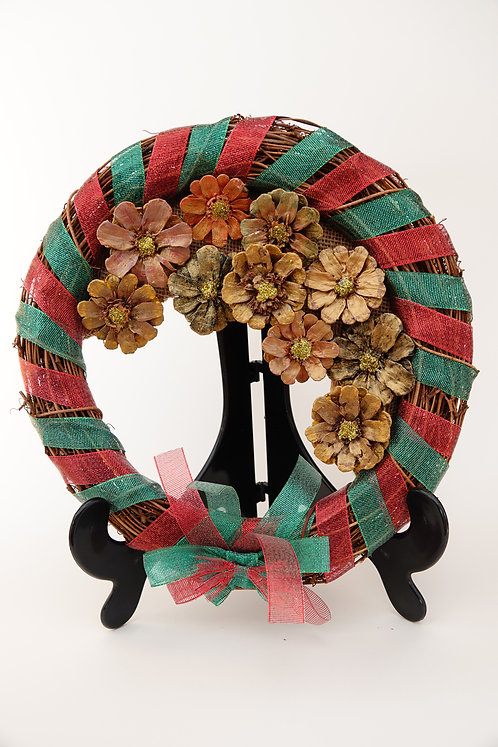 'Christmas themed Wicker based Wreath'