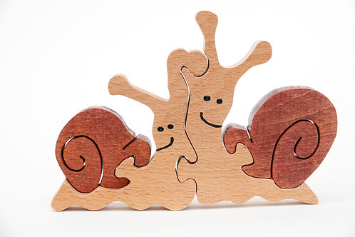 'Pair of Wooden Snails'