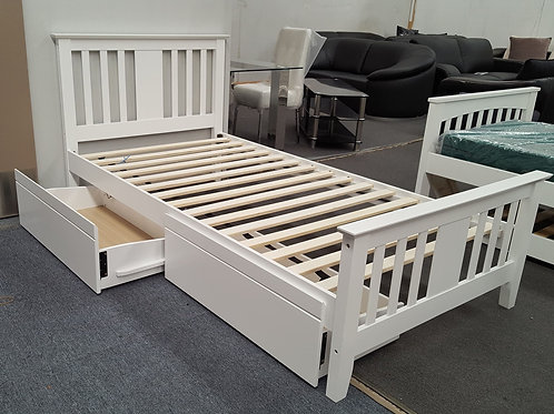 Molly Single Bed With Drawers White