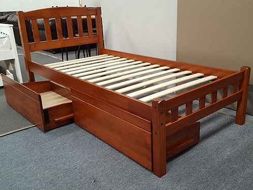 Solid Hardwood Antique Oak Single Bed With Drawers