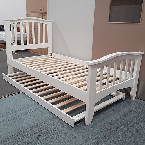 Tyler Single Bed with Trundler -White