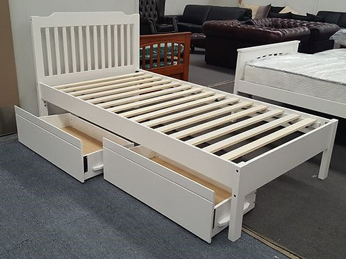 White Single Bed Adjustable Base Height with Drawers