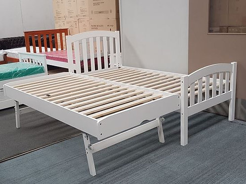 Breda Single bed with Pop up trundler - White