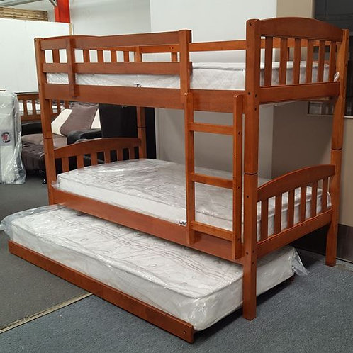 Mikki Single Up/Down Bunk Bed With Trundle and Mattresses