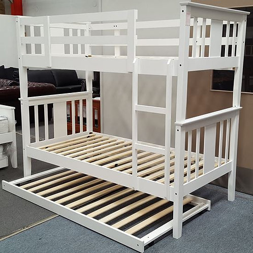 Elise White Single Up/Down Bunk Bed With Trundle