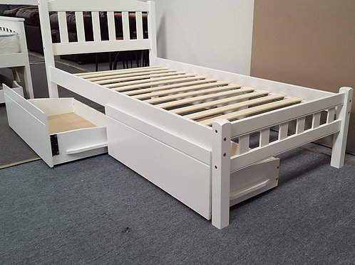 Single Bed with Drawers Solid Hardwood White