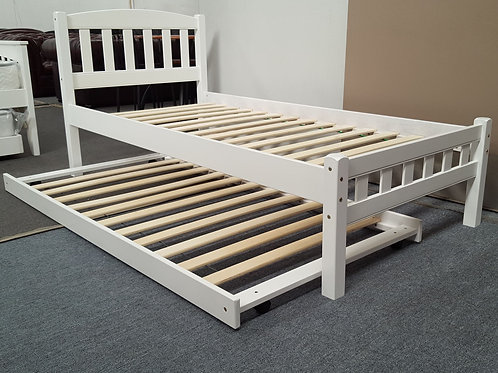 Single Bed with Trundle Solid Hardwood White
