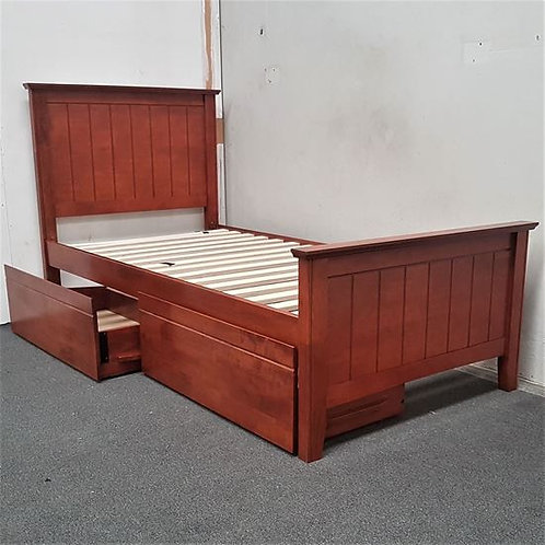 Elite Single Bed with Drawers Solid Harwood Oak