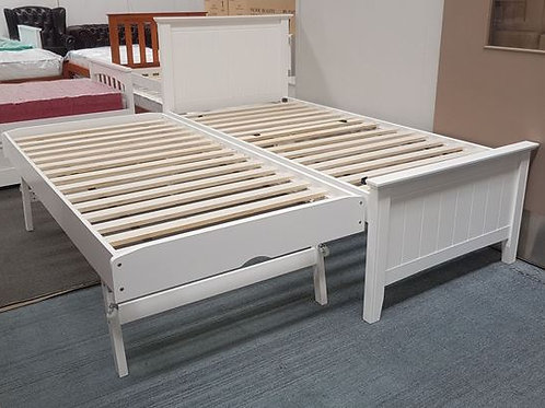 Elite Single Bed with Pop Up Trundle Solid Hardwood White