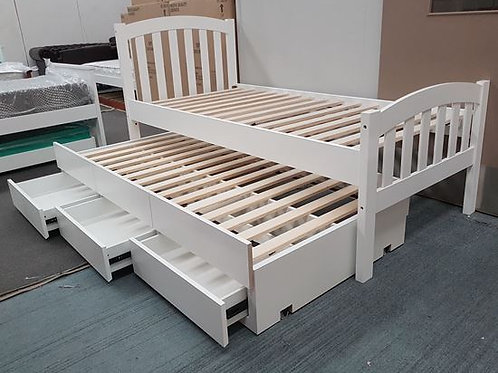 Breda Single Bed with 3 Drawers Trundler