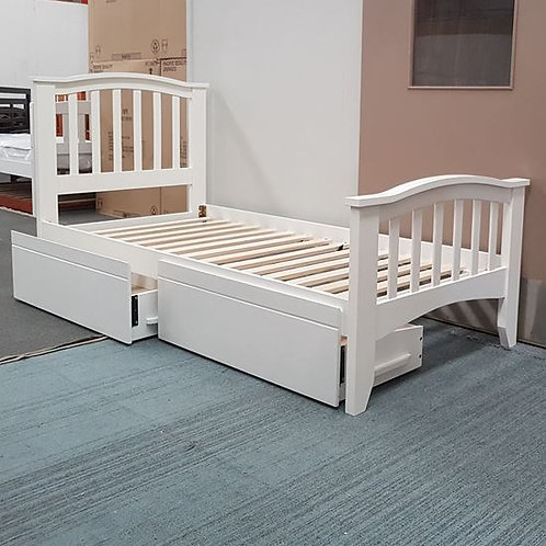 Tyler Single Bed with Drawer -White