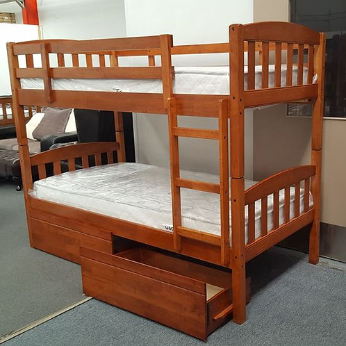 Mikki Single Up/Down Bunk Bed With Drawers and Mattresses