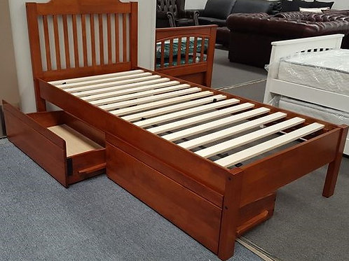 Single Bed Adjustable Base Height with Drawers