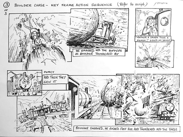 Thomas The Tank Engine Boulder Chase action storyboard