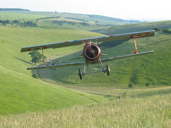Rob in Nieuport17 G-BWMJ on the 'Flyboys' movie, Yorkshire Dales, Yorkshire, UK