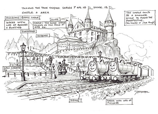 Thomas The Tank Engine Castle & Area set Drawing