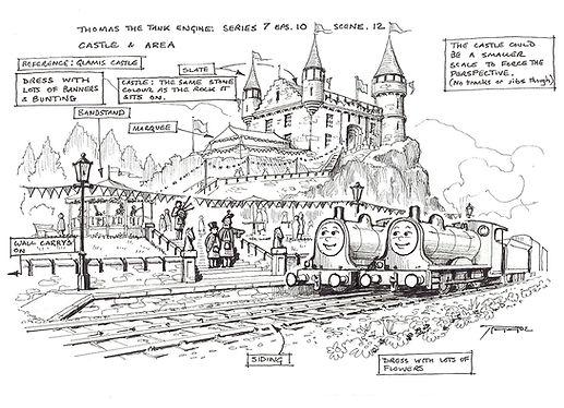Thomas The Tank Engine Castle & Area set Drawing