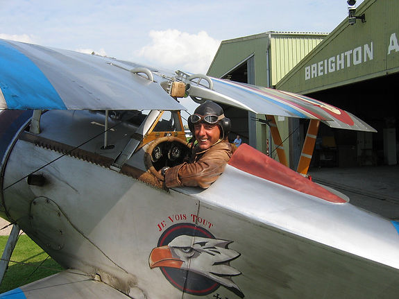 Rob in Nieuport17 G-BWMJ on the 'Flyboys' movie at Breighton, Yorkshire, UK