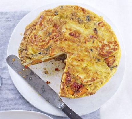 Roast pumpkin & spinach frittata with steamed vegetables