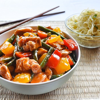 Sweet & sour chicken and vegetables with ribbon noodles