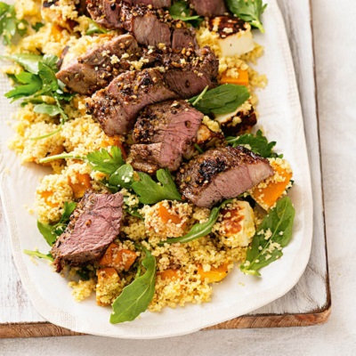 Dukkah-coated lamb with roasted vegetable couscous