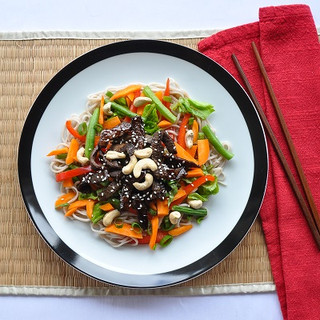 Beef and soba noodles