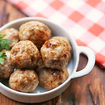Pork mozzarella meatballs with herbed potato wedges & chuck wagon veges