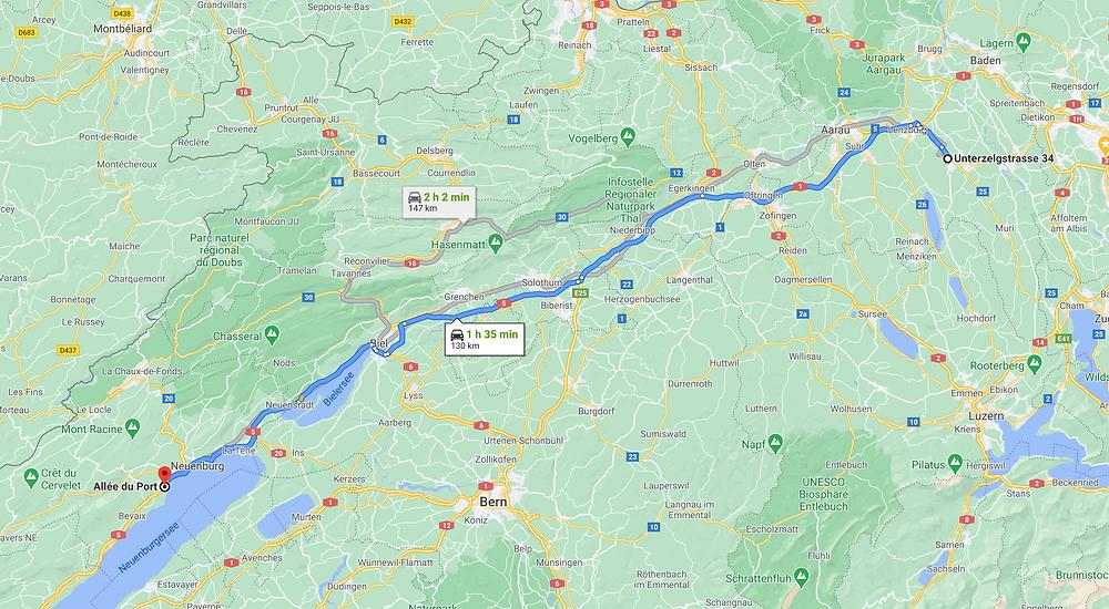 Route Villmergen - Milvignes