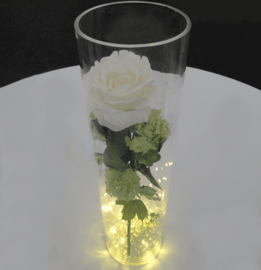 Cylinder Vase With Foliage And Fairy Lights