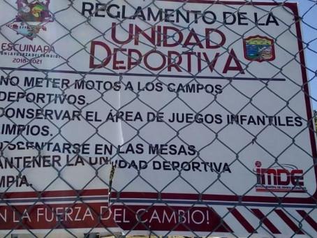 Destrozan señaletica en la unidad deportiva 'Benito Juárez'