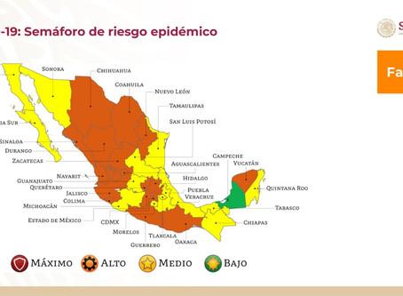 Sinaloa regresa a color amarillo en el semáforo nacional del Coronavirus