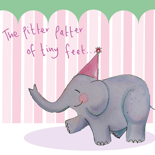 Pitter Patter of Tiny feet - pink and green - a joyful elephant trumpeting your