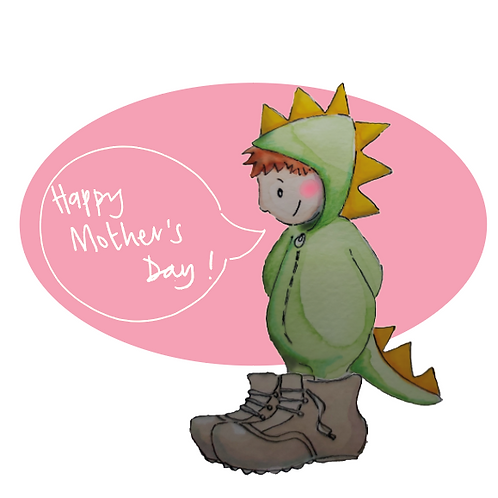 Mother's day card with a child in a dinosaur suit