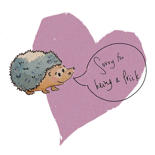 Sorry for being a prick! Humorous Sorry card with hedgehog on a lilac background