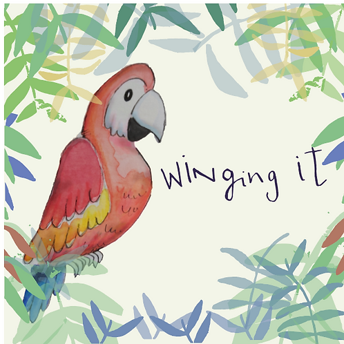 Winging it - Parrot on a tropical background greeting card