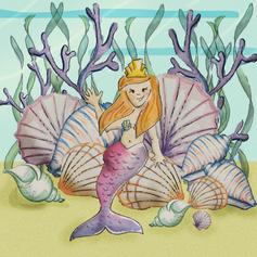mermaid on seashells