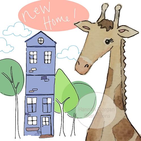 Giraffe's new home greeting card