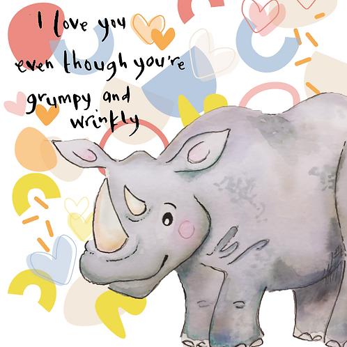 Wrinkly Grumpy Rhino