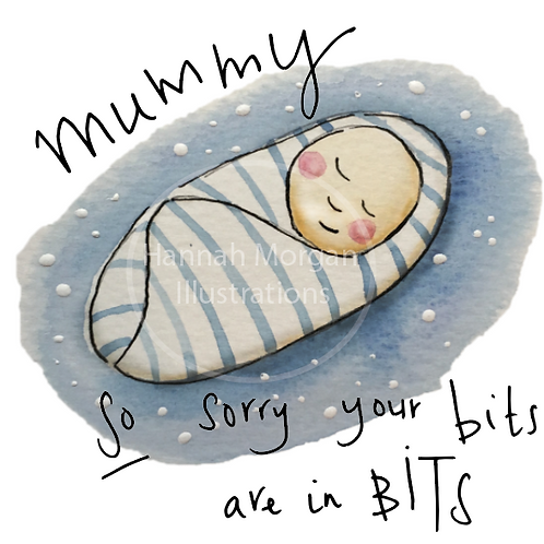 Blue Sorry Mummy - Baby in a blue swaddle