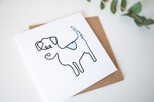 Jack Russell single line drawing - greetings cards